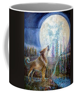 Wolf Howling And Full Moon Coffee Mug