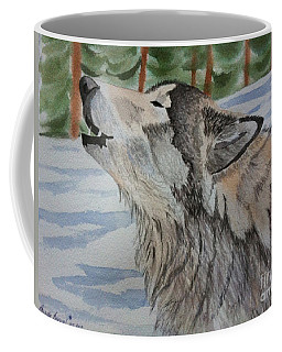 Howling Wolf In Winter Coffee Mug
