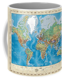 Huge Hi Res Mercator Projection Physical And Political Relief World Map Coffee Mug