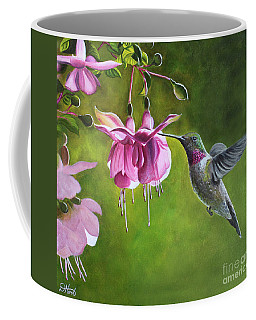 Coffee Mug featuring the painting Hummingbird And Fuschia by Debbie Hart