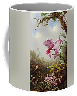 Hummingbird And Two Types Of Orchids Coffee Mug