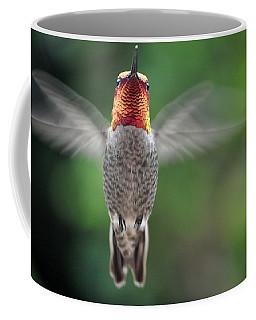 Coffee Mug featuring the photograph Hummingbird In Flight Male Anna by Jay Milo