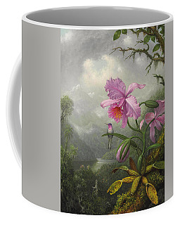 Hummingbird Perched On The Orchid Plant Coffee Mug