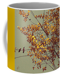 Hummingbirds On Yellow Tree Coffee Mug