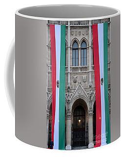 Hungary Flag Hanging At Parliament Budapest Coffee Mug