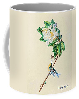 Hydrangea With Yellow Breasted  Vireo After Audubon Coffee Mug
