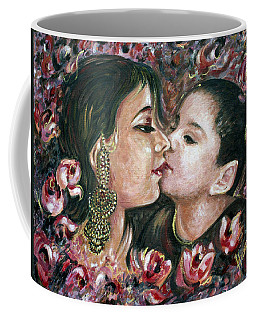 Coffee Mug featuring the painting I Love You Mom by Harsh Malik