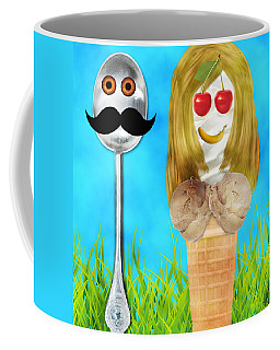 Coffee Mug featuring the digital art Ice Cream Couple by Ally  White