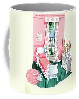 Illustration Of A Victorian Style Pink And Green Coffee Mug
