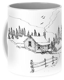 Coffee Mug featuring the drawing Imagination 1993 - Mountain Cabin by Richard Wambach