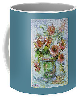 Coffee Mug featuring the painting Impressionist Roses 2 by Mary Wolf