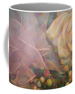 Coffee Mug featuring the photograph Impressionistic Pink Rose With Ribbon by Dora Sofia Caputo Photographic Art and Design