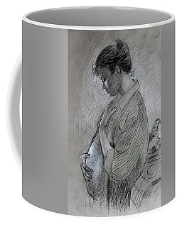 Coffee Mug featuring the drawing In The Family Way by Viola El