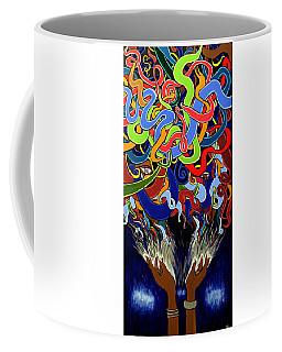Colorful Abstract Art Painting, Creative Energy Flow Art, Afrofuturism Coffee Mug