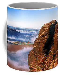 In The Sun Glowing Rock On The Lilienstein Coffee Mug