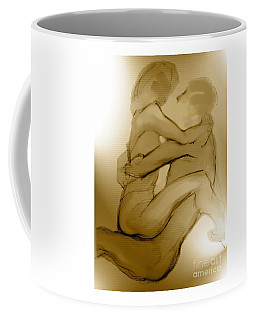 Coffee Mug featuring the mixed media In Your Arms In Your Heart by Carolyn Weltman
