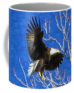 Coffee Mug featuring the photograph Inbound Eagle by John Freidenberg