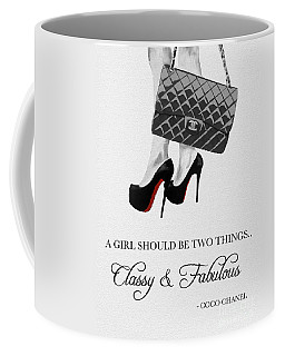 Independent Quote Black And White Coffee Mug by Rebecca Jenkins