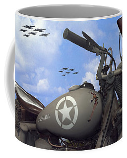 Indian 841 And The B-17 Panoramic Coffee Mug