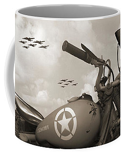 Indian 841 And The B-17 Panoramic Sepia Coffee Mug