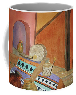 Coffee Mug featuring the painting Indian Blankets Jars And Drums by Ellen Levinson