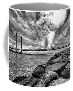 Indian River Bridge Clouds Black And White Coffee Mug