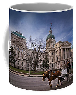 Indiana Capital Building - Front With Horse Passing Coffee Mug
