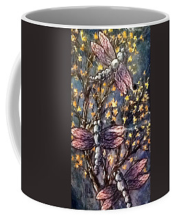 Coffee Mug featuring the painting Indigo Dragons by Megan Walsh