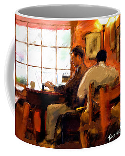 Coffee Mug featuring the painting Internet Coffee House by Ted Azriel