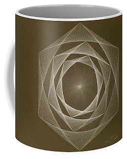Coffee Mug featuring the drawing Inverted Energy Spiral by Jason Padgett