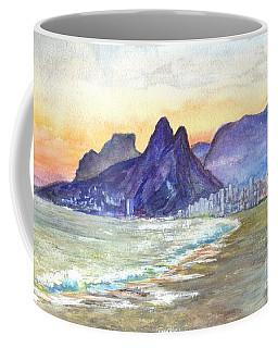 Sugarloaf Mountain And Ipanema Beach At Sunset Rio Dejaneiro  Brazil Coffee Mug