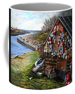 Ipswich Bay Wooden Buoys Coffee Mug by Eileen Patten Oliver