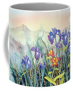 Coffee Mug featuring the painting Iris And Columbine II by Teresa Ascone