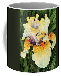 Coffee Mug featuring the painting Iris Elegance by Barbara Jewell