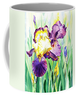 Coffee Mug featuring the painting Iris Flowers Garden by Irina Sztukowski