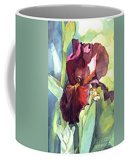 Watercolor Of A Tall Bearded Iris Called Sultan's Palace In Red And Burgundy Coffee Mug