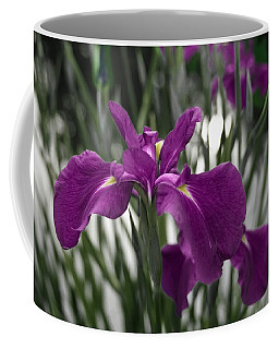 Coffee Mug featuring the photograph Iris On Pond's Edge by Penny Lisowski