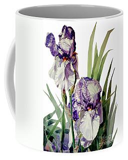 Watercolor Of A Tall Bearded Iris In Violet And White I Call Iris Selena Marie Coffee Mug
