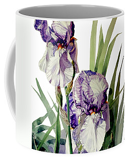 Watercolor Of A Tall Bearded Iris In Violet And White I Call Iris Selena Marie Coffee Mug