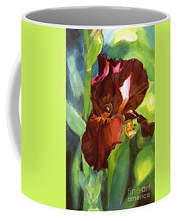 Watercolor Of A Tall Bearded Iris In Sienna Red Coffee Mug