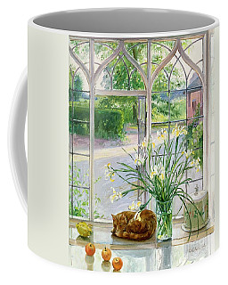 Irises And Sleeping Cat Coffee Mug