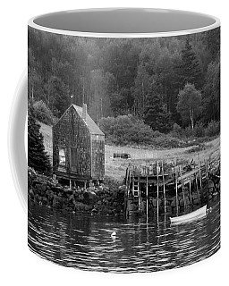 Island Shoreline In Black And White Coffee Mug