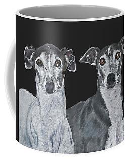 Italian Greyhounds Portrait Over Black Coffee Mug