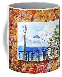 Italy Sketches Sorrento View On Volcano Vesuvius  Coffee Mug