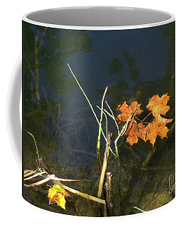 Coffee Mug featuring the photograph It's Over - Leafs On Pond by Brenda Brown