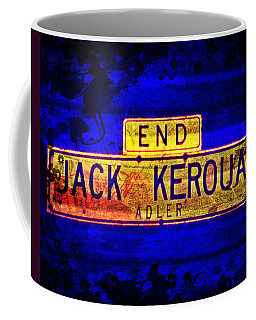 Coffee Mug featuring the mixed media Jack Kerouac Alley by Michelle Dallocchio