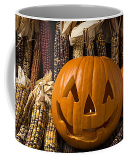 Jack-o-lantern And Indian Corn  Coffee Mug