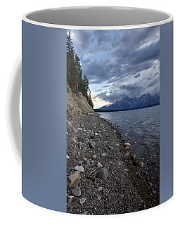 Coffee Mug featuring the photograph Jackson Lake Shore With Grand Tetons by Belinda Greb