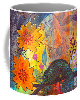 Coffee Mug featuring the painting Jackson's Chameleon by Robin Maria Pedrero
