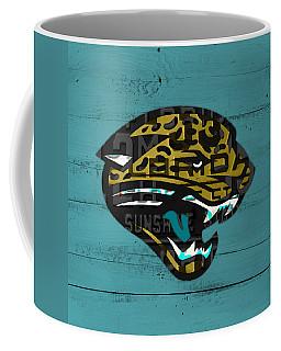 Jacksonville Jaguars Football Team Retro Logo Recycled Florida License Plate Art Coffee Mug
